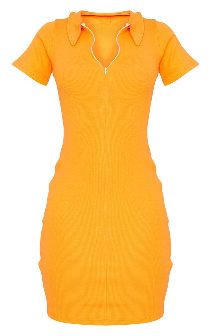 Tall Orange Thick Rib Zip Up Polo Collar Bodycon Dress 5