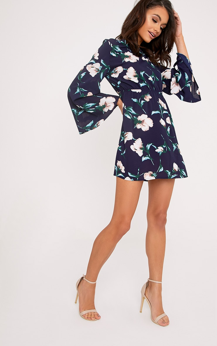 Naysia Navy Floral Print Open Back Shift Dress 4