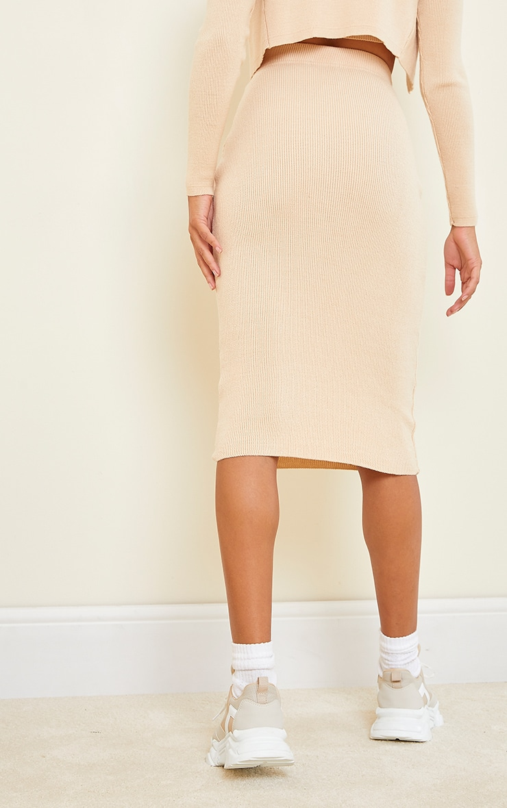 Stone All Over Ribbed Knitted Midi Skirt 3