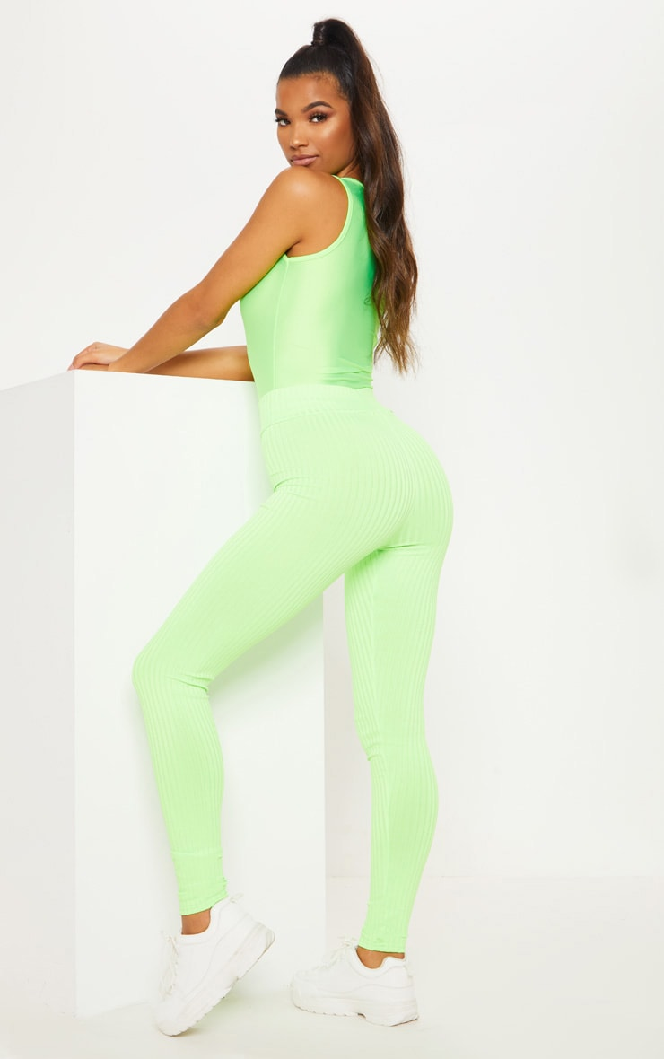Neon Lime Ribbed High Waisted Legging
