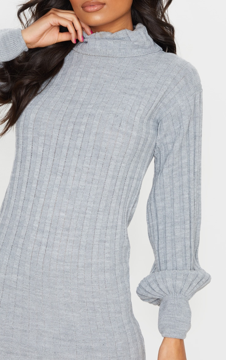 Grey Roll Neck Ribbed Knitted Sweater Dress 4