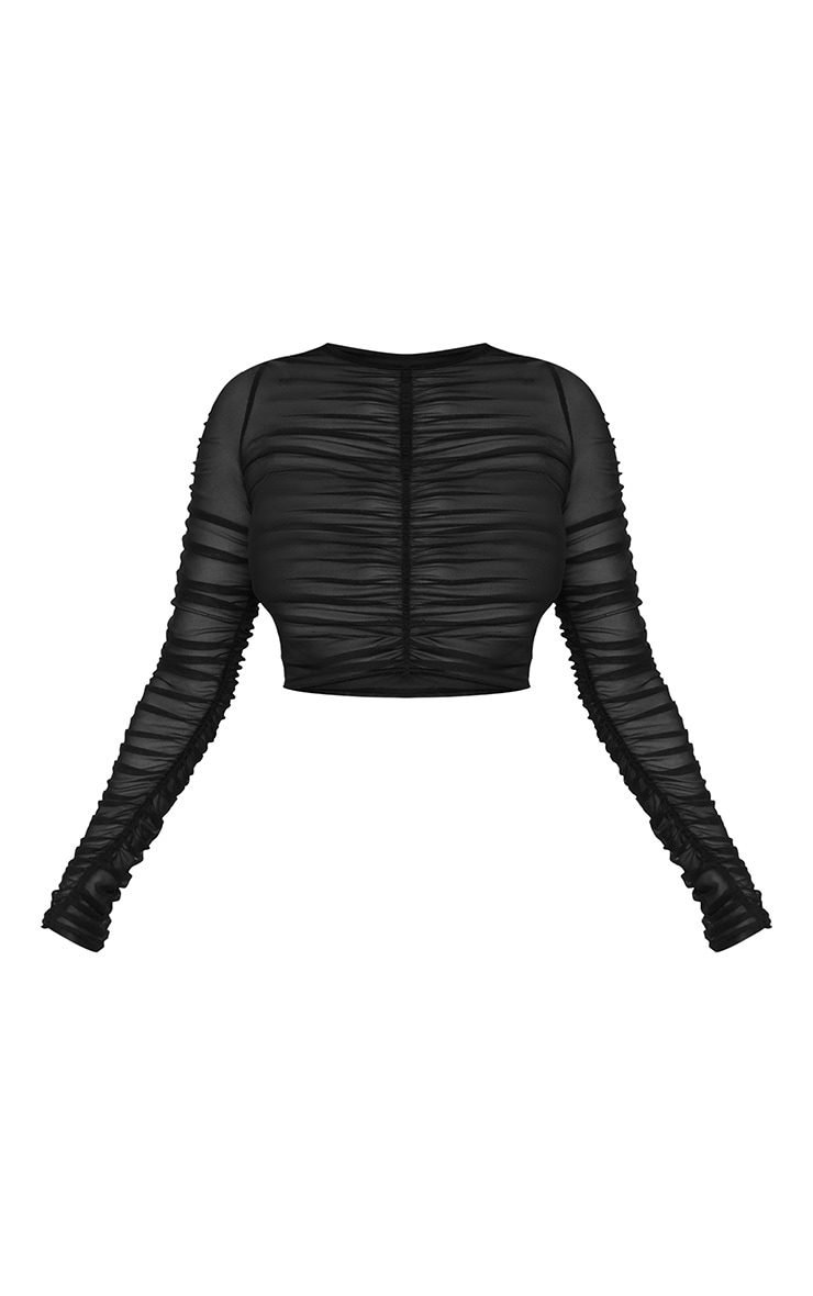 Black Mesh Ruched Long Sleeve Top 3