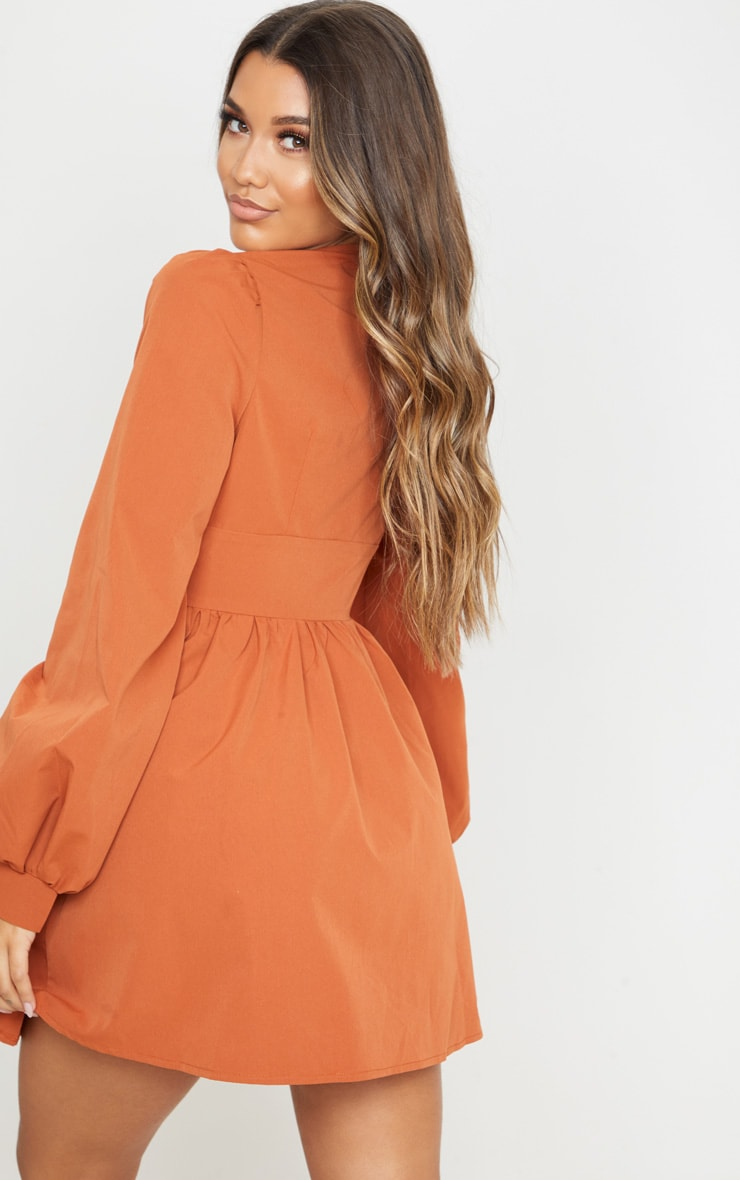Terracotta Button Front Fitted Puff Sleeve Skater Dress 2