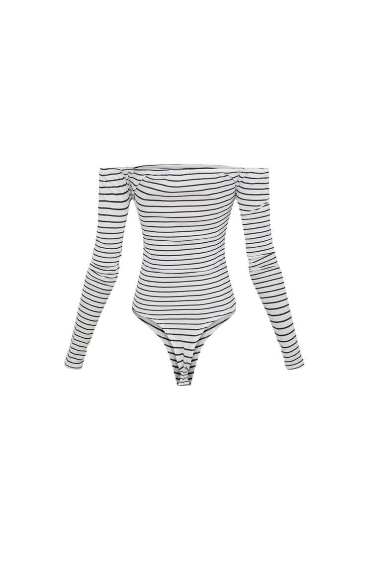 White Stripe Bardot Long Sleeve Thong Bodysuit  4