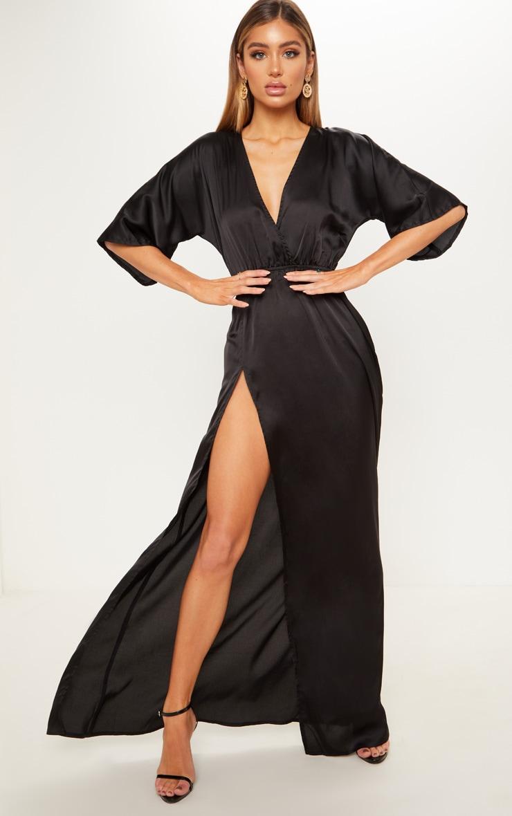 Black Satin Split Leg Maxi Dress by Prettylittlething