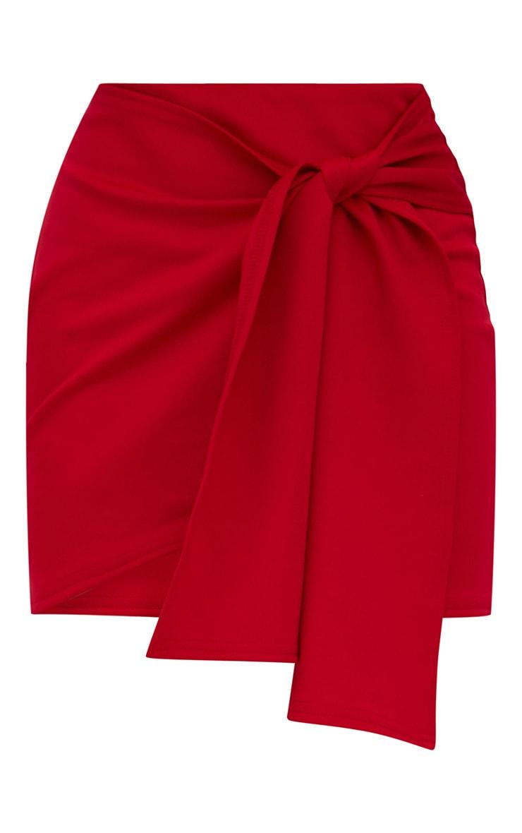 Red Tie Wrap Mini Skirt 3