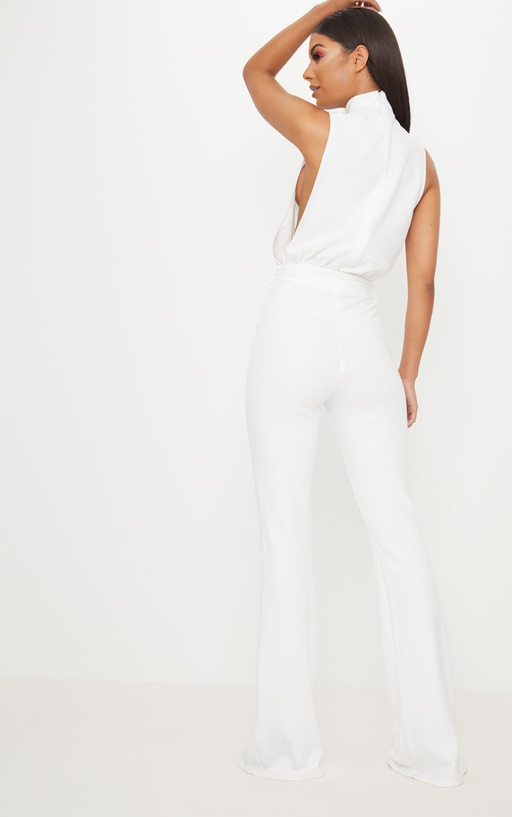 White Scuba High Neck Tie Waist Jumpsuit 2