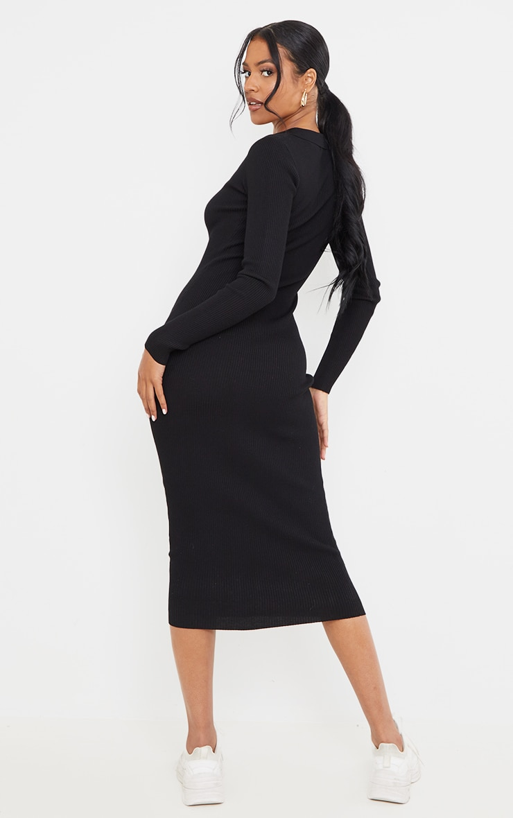 Tall Black Button Down Collared Knitted Midi Dress 2