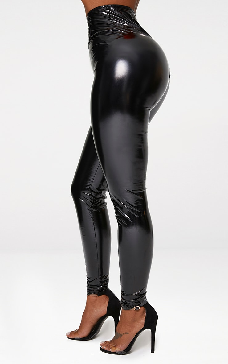Shape Black High Waist Vinyl Leggings 5