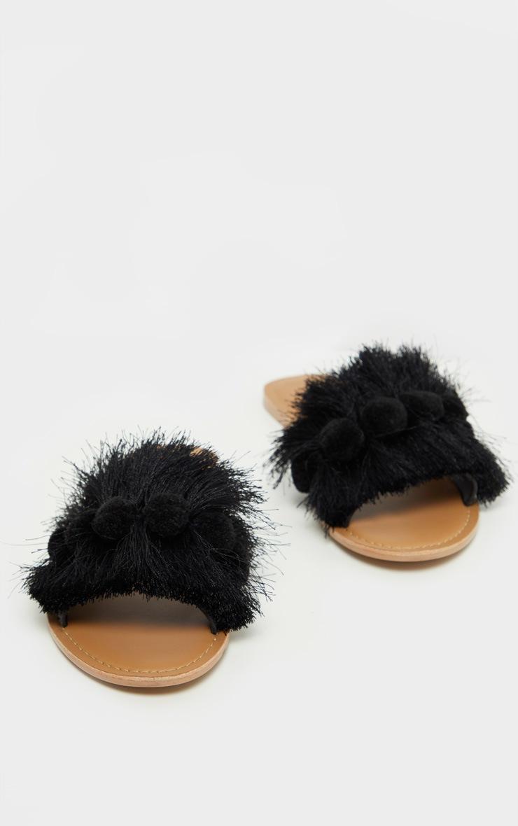 Black Tassel Pom Pom Mule Sandal 4