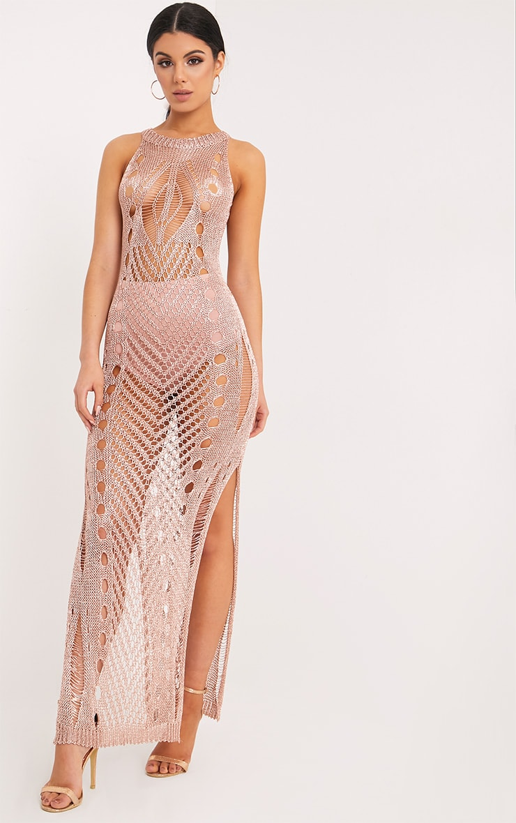 Donatella Rose Gold Metallic Pointelle Knit Maxi Dress 1