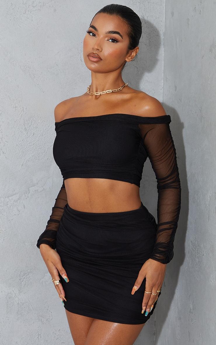 Black Mesh Ruched Side Skirt 4