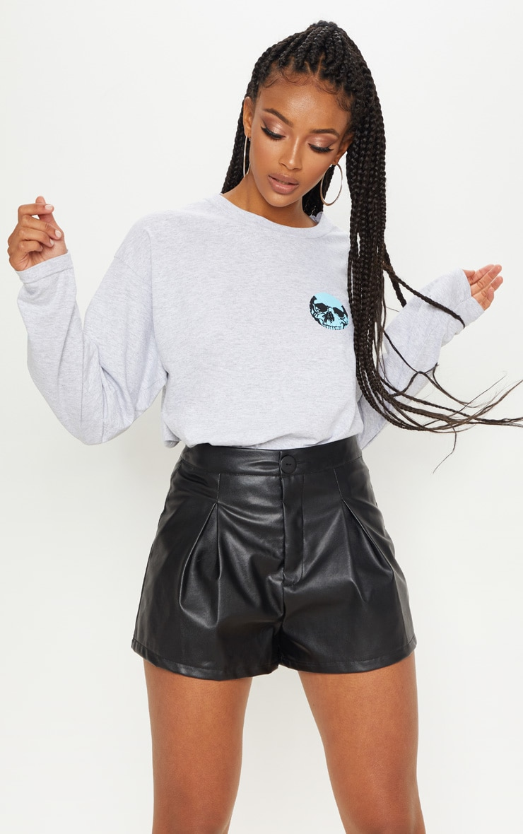 Black Faux Leather Pleat Front Short 2