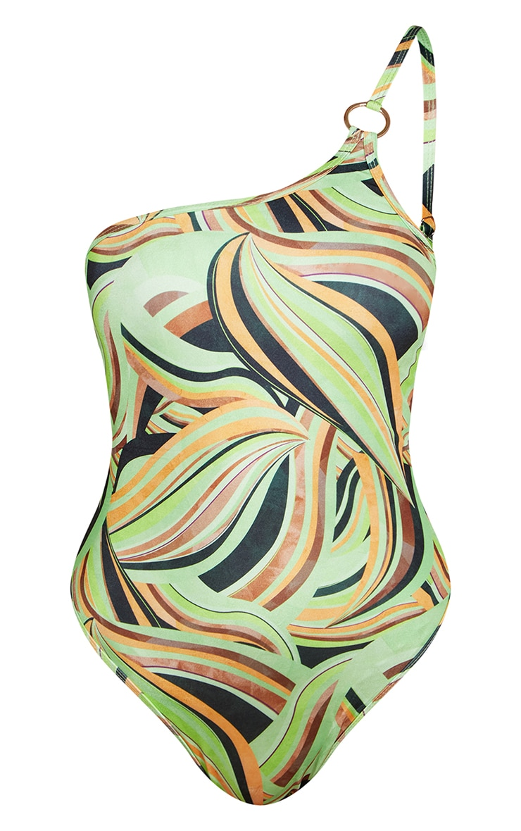 Multi Abstract Swirl Print Ring Asymmetric Swimsuit 5