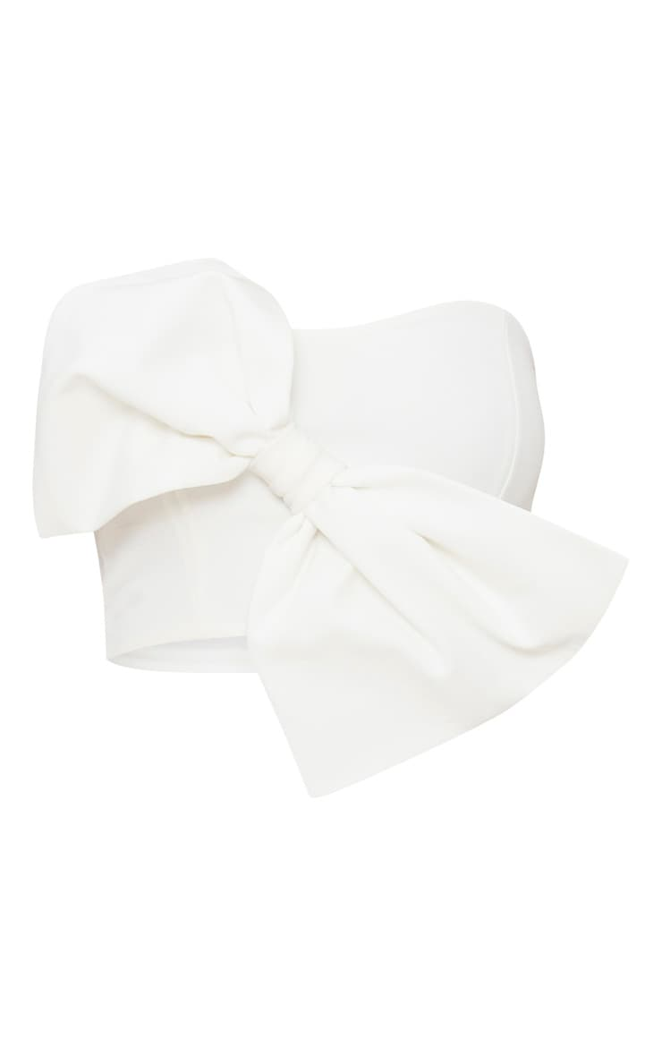 White Bow Front Bandeau Crop Top 3