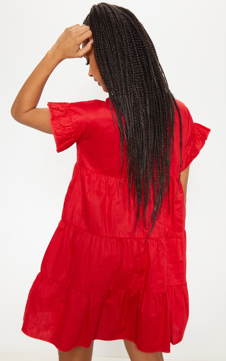 Red Broderie Anglaise Smock Dress 2