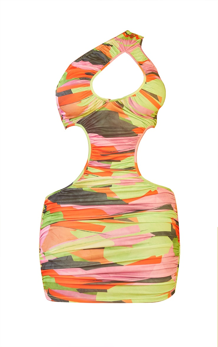 Shape Multi Abstract Print Ruched Cut Out One Shoulder Bodycon Dress 5