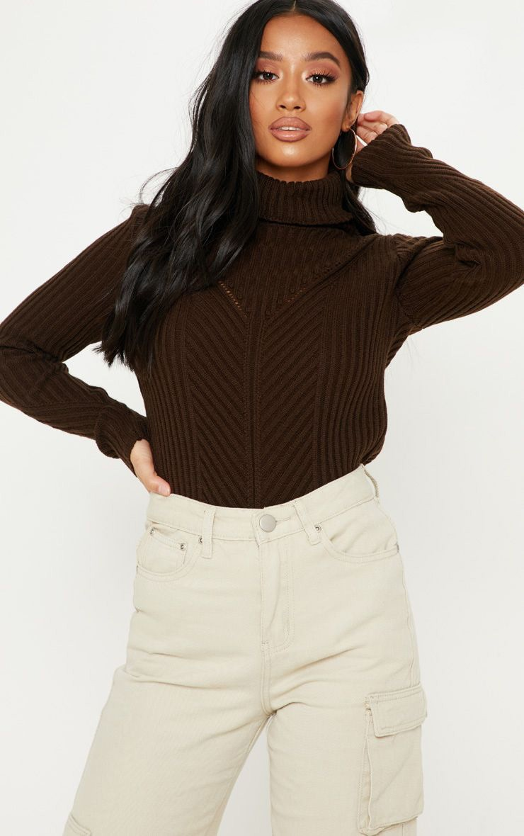 Petite Chocolate Brown High Neck Sweater 1