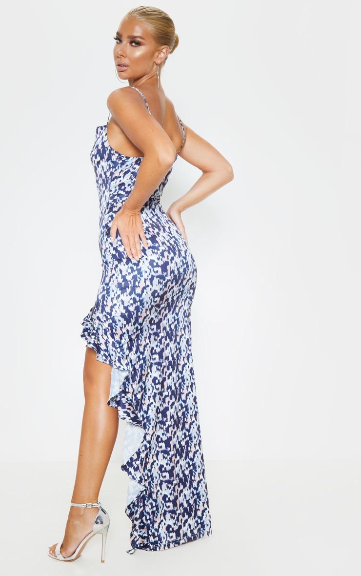 Navy Geo Print Cowl Neck Frill Hem Maxi Dress 2