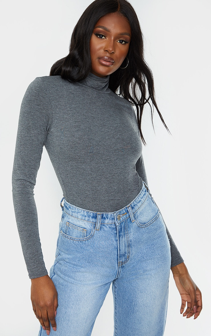 Tall Charcoal Roll Neck Bodysuit 1
