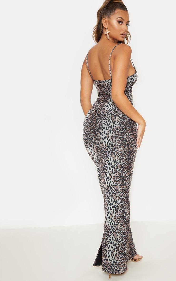 Robe longue en mesh imprimé léopard et dentelle 3
