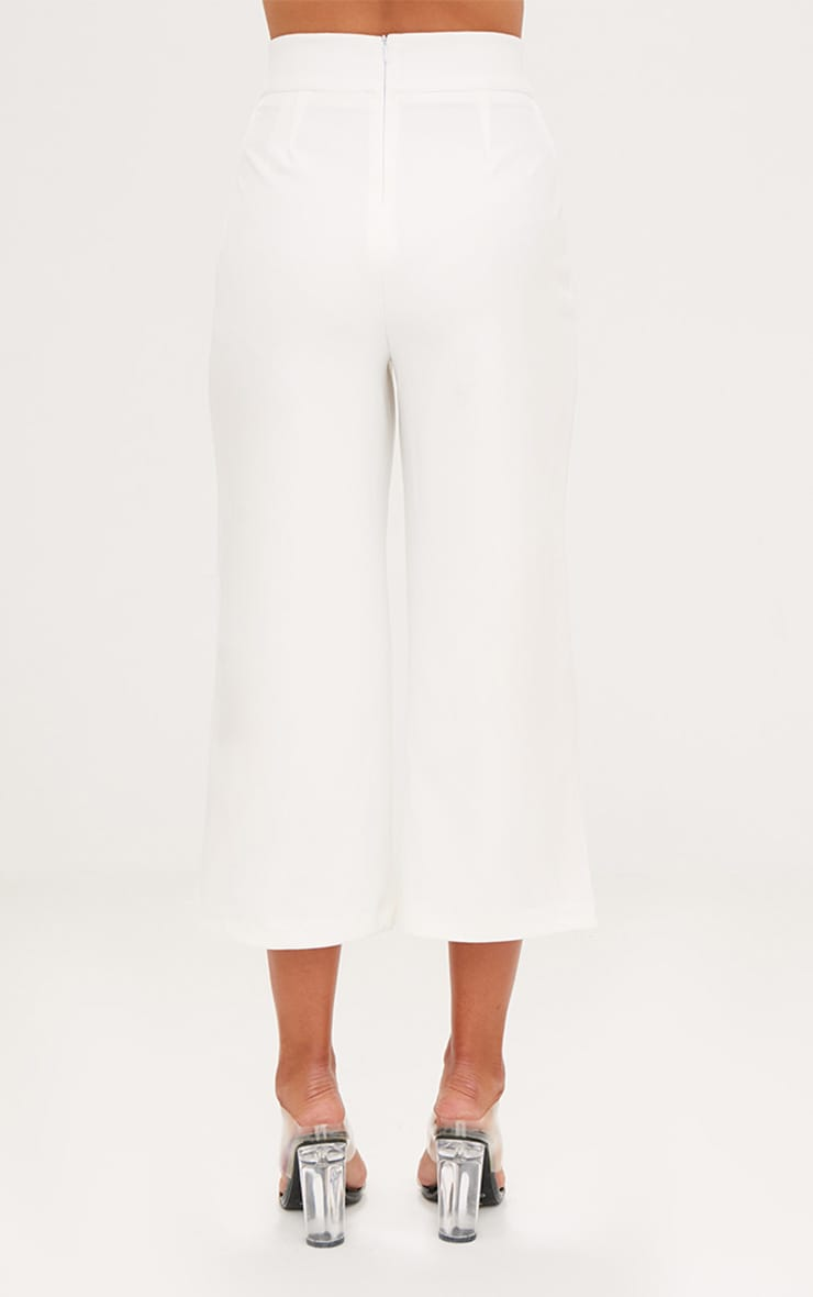 White High Waisted Scuba Culottes  4