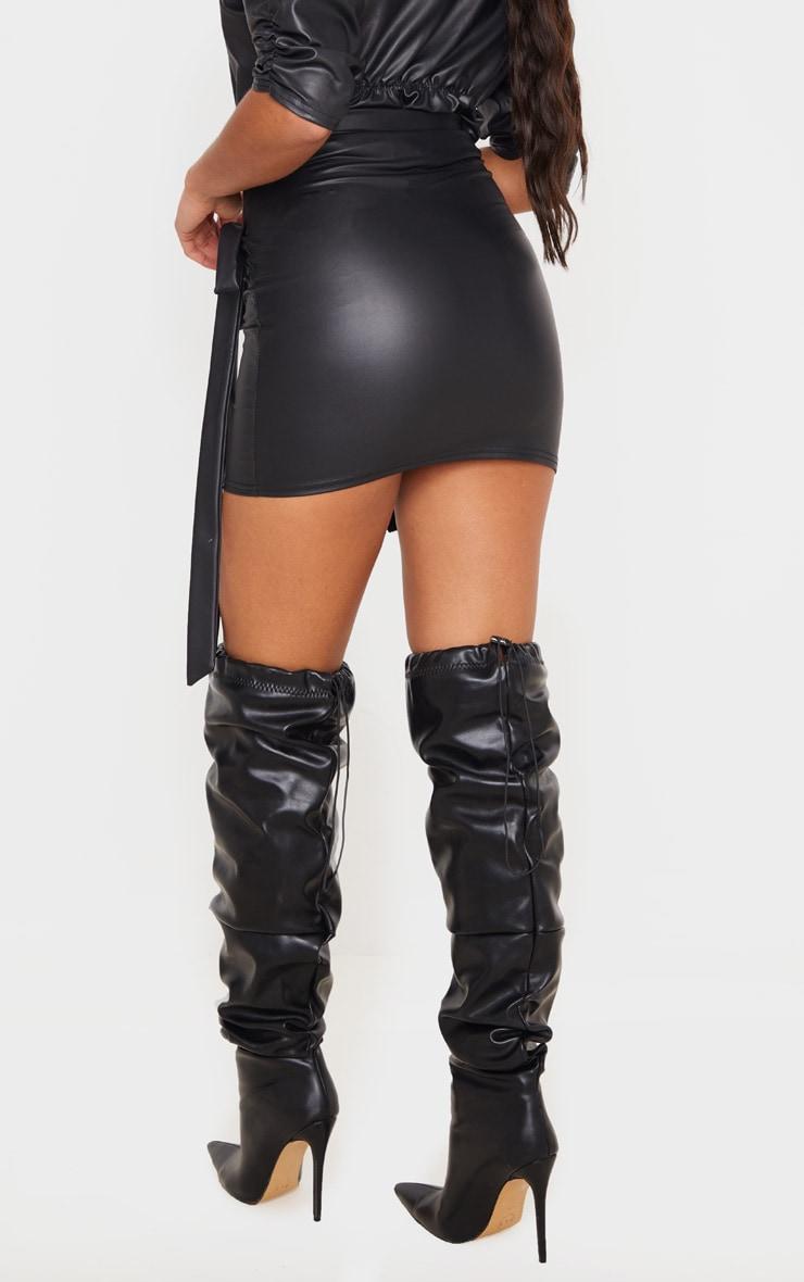 Black Faux Leather Wrap Tie Mini Skirt 4