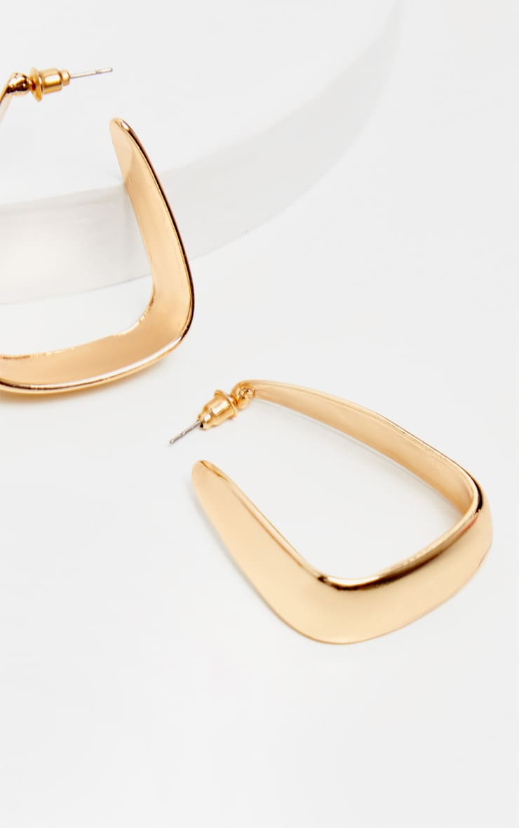 Gold Squared Medium Hoop Earrings 3