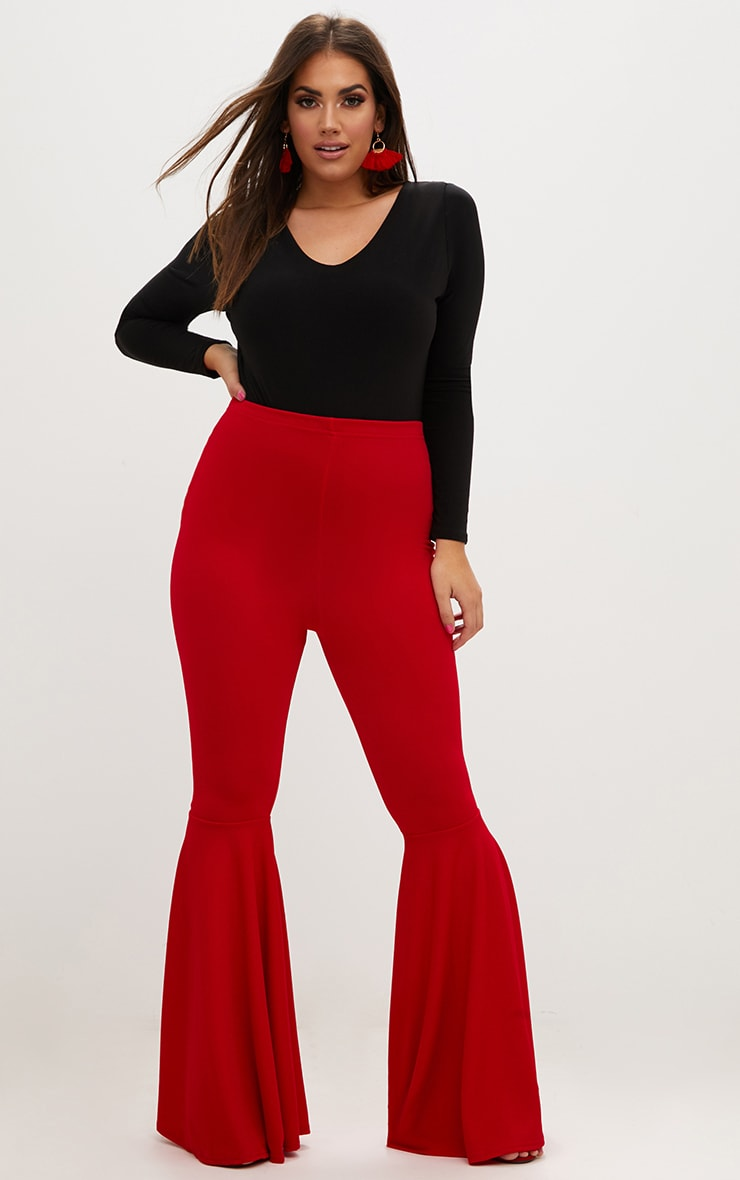 Plus Red Fit and Flare Leg Trousers 1
