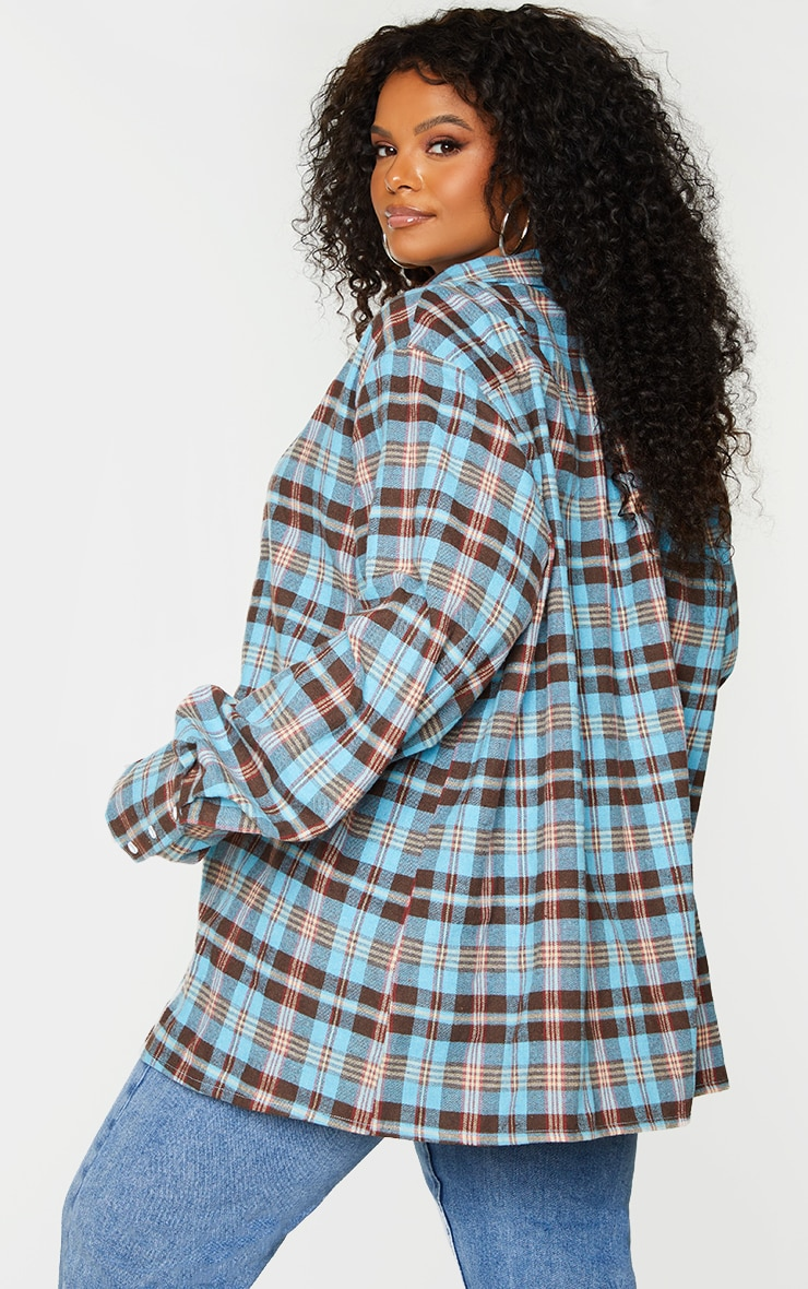 Plus Blue Checked Oversized Shirt 2