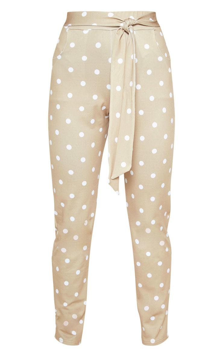 Taupe Polka Dot Print Tie Waist Cigarette Trouser 3