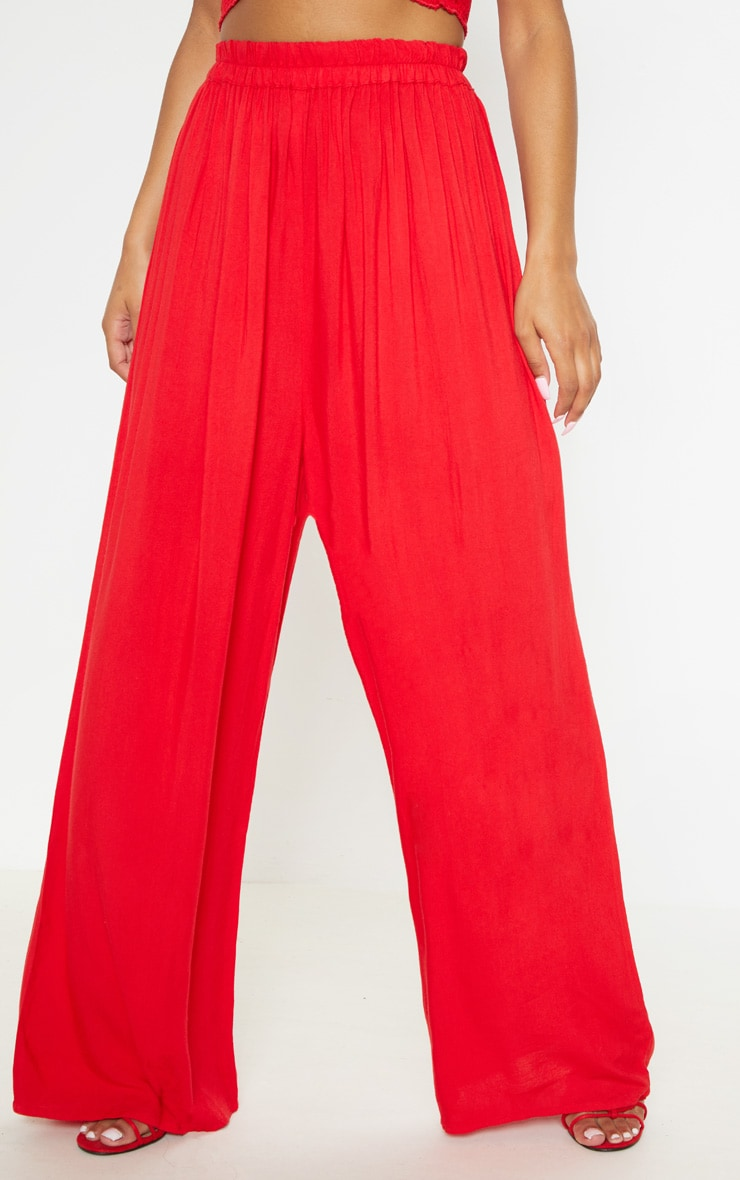 Red Wide Leg Woven Pants 2