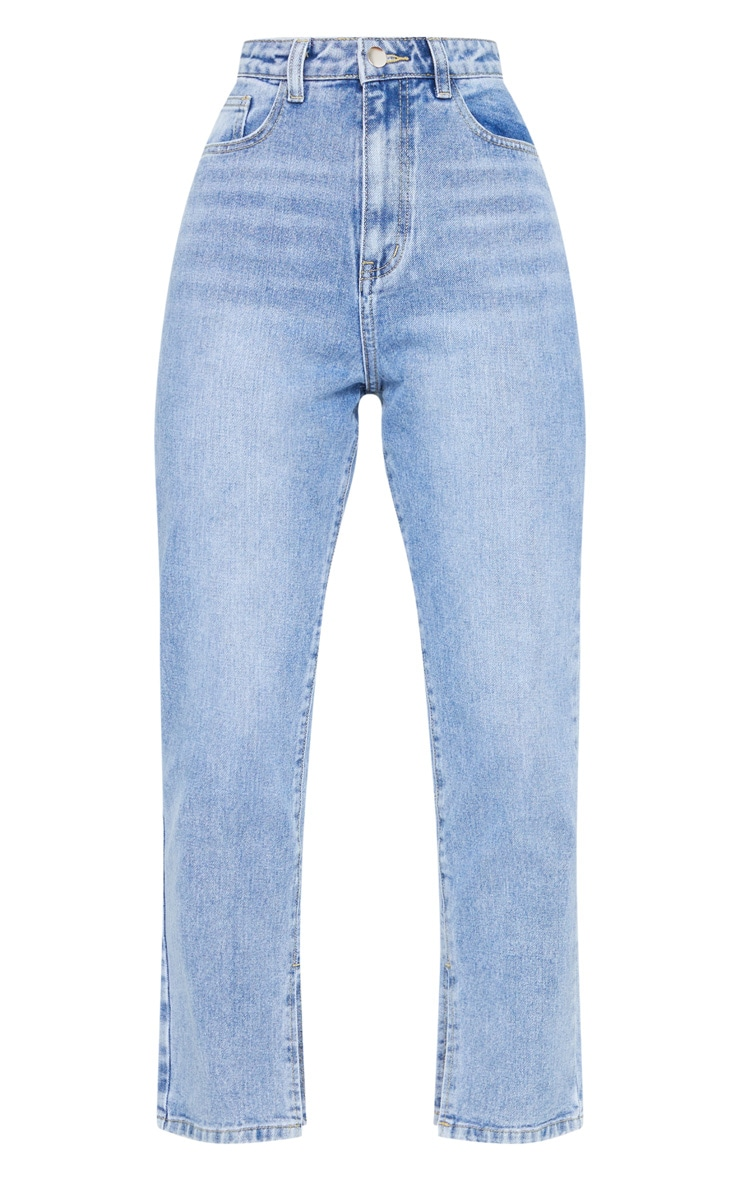 Mid Wash Cropped Split Hem Bum Rip Jeans 5