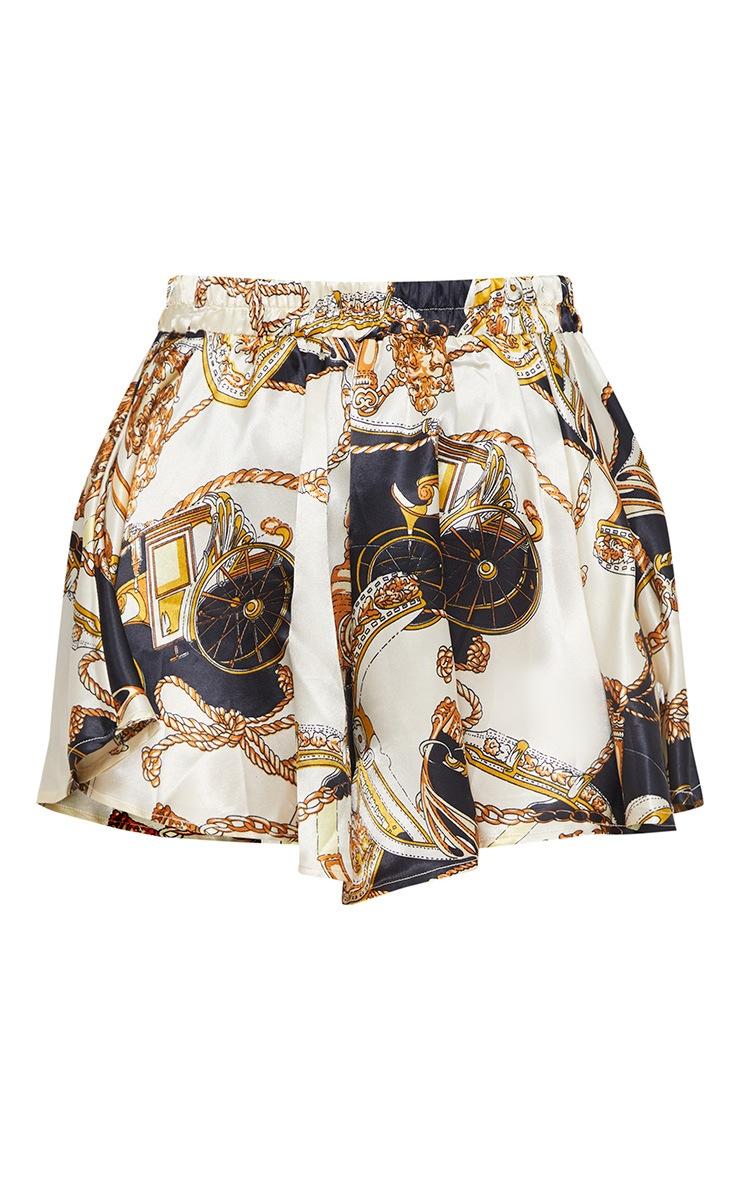 Cream Satin Chain Print Floaty Shorts 3