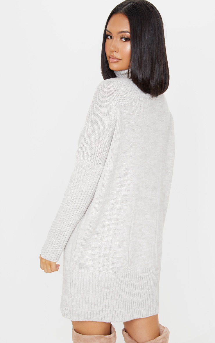 Oatmeal Cable Front Knitted Jumper Dress 2