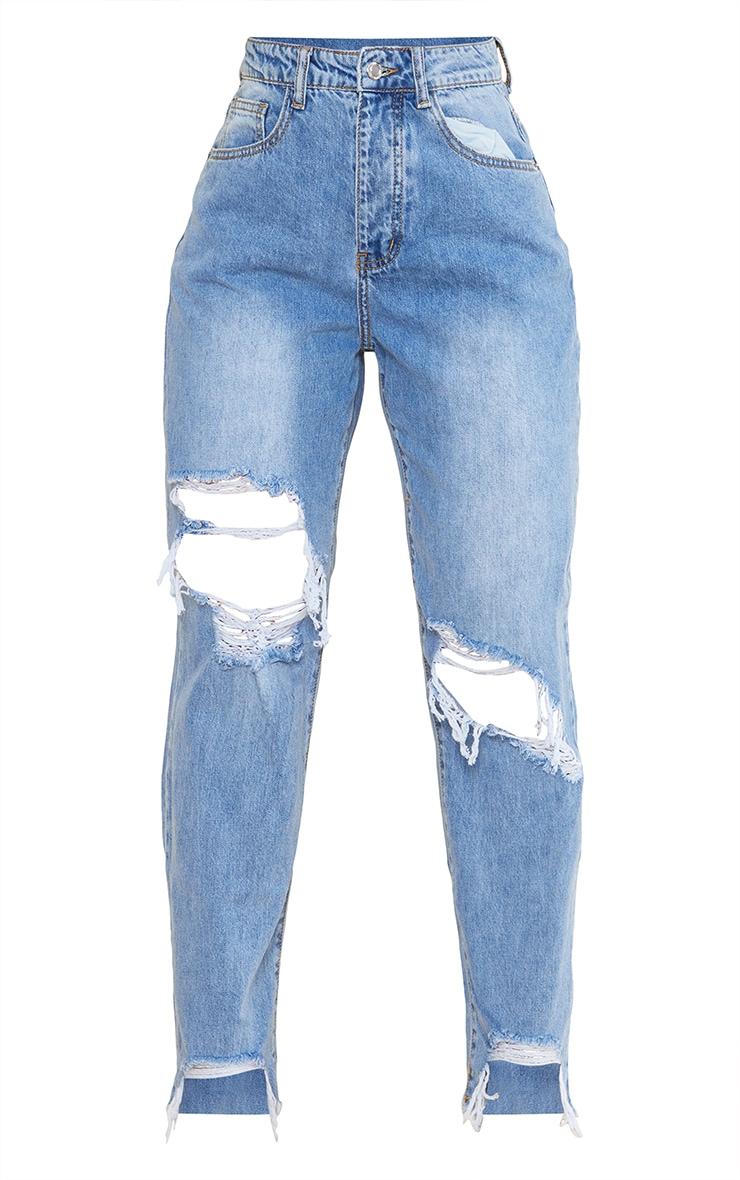 PRETTYLITTLETHING Light Blue Wash Extreme Ripped Hem Boyfriend Jeans 5