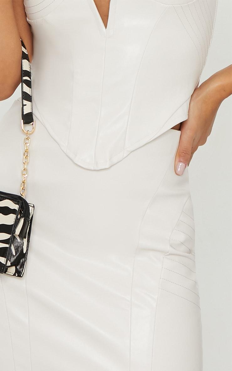 Cream PU Seam Detail Mini Skirt 5