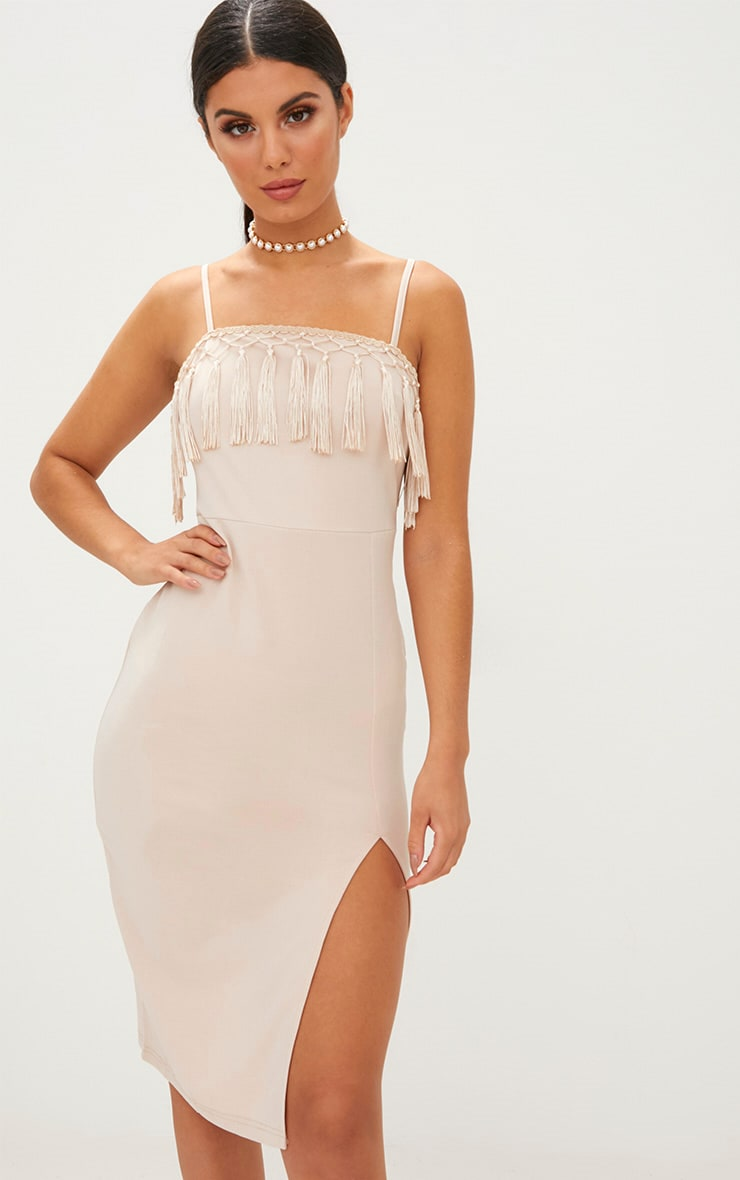 Nude Strappy Tassel Detail Side Split Midi Dress 1