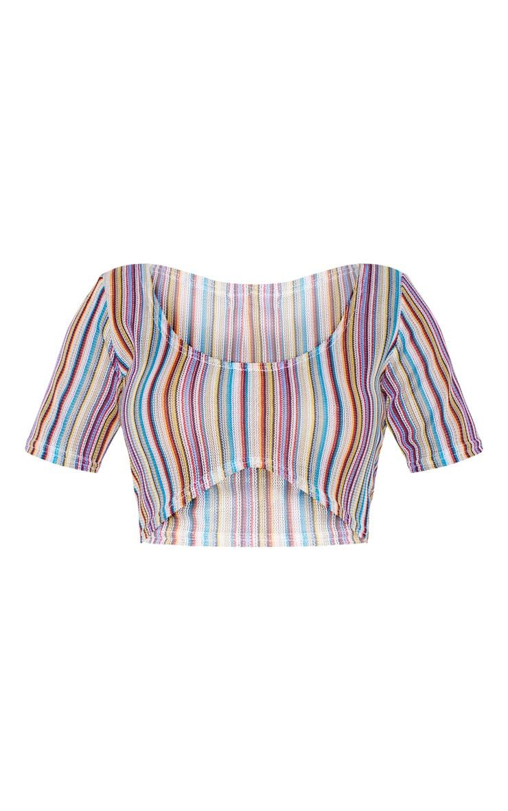 Shape Multi Striped Crochet Hot Pants 3