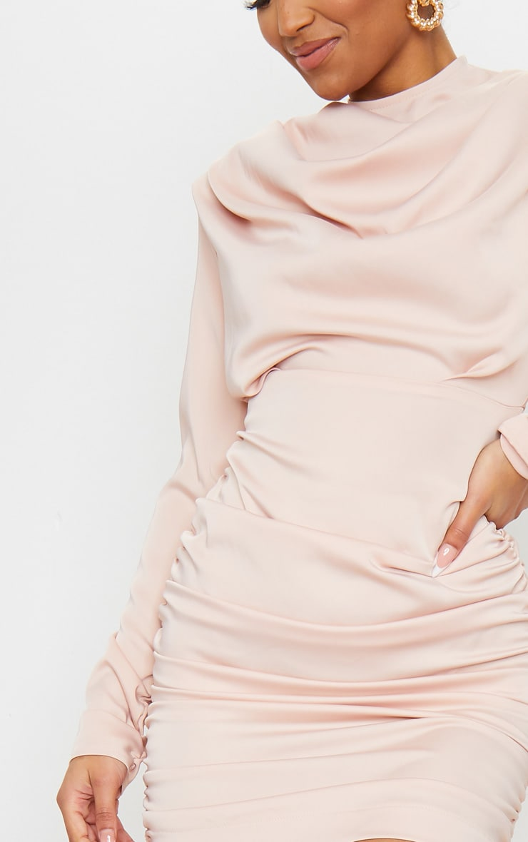Nude Ruched Detail Long Sleeve Bodycon Dress 4