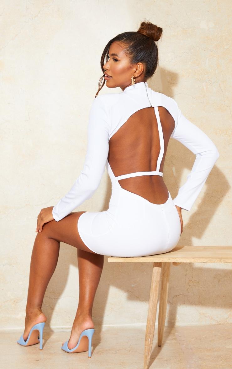 White Woven High Neck Long Sleeve Open Back Detail Bodycon Dress