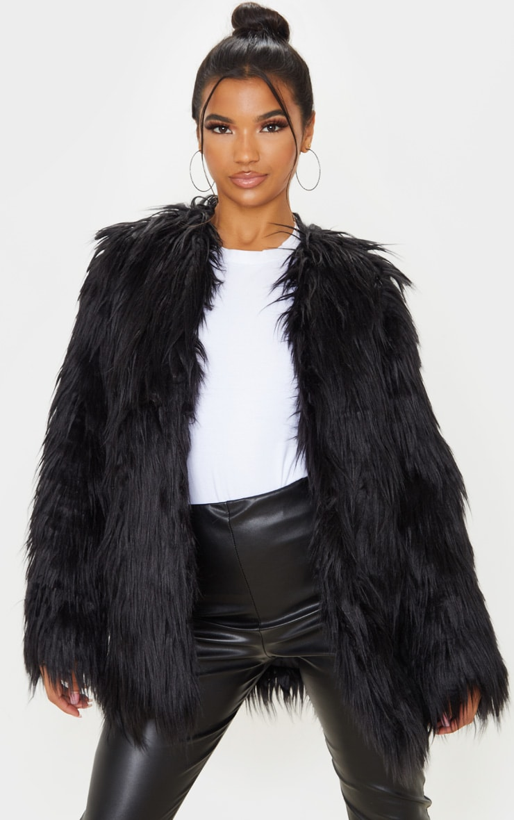 Amaria Black Shaggy Faux Fur Jacket 1