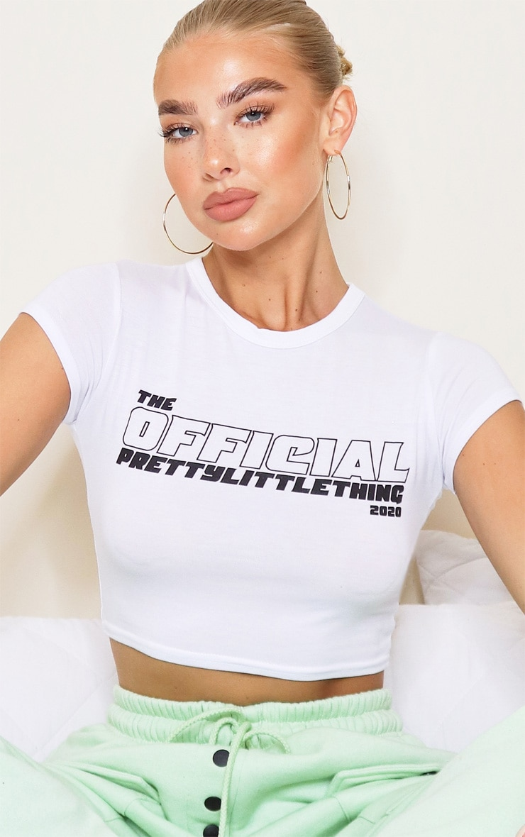PRETTYLITTLETHING White The Official Crop Top 4