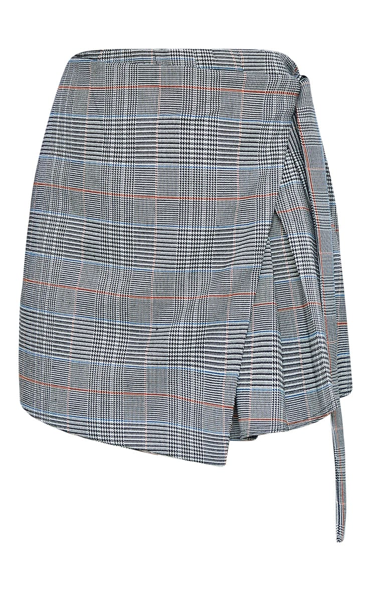 Grey Woven Check Wrap Skater Skirt 6