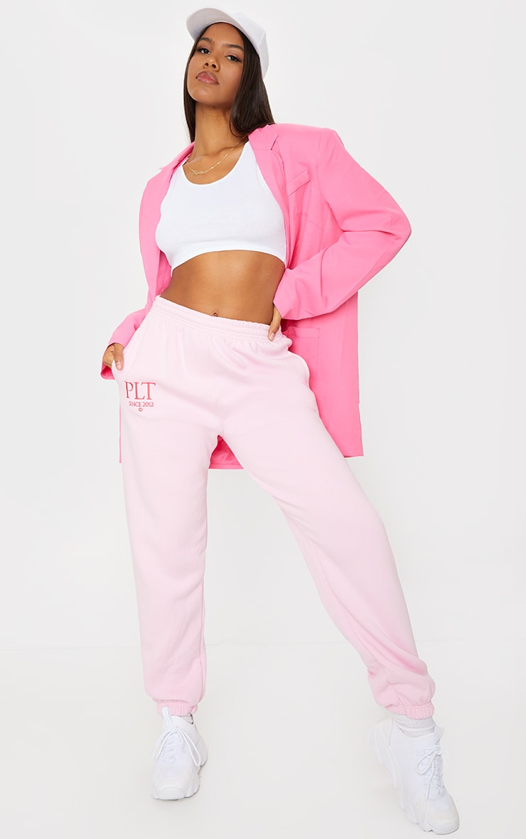 PRETTYLITTLETHING Baby Pink Established Slogan Casual Joggers 1