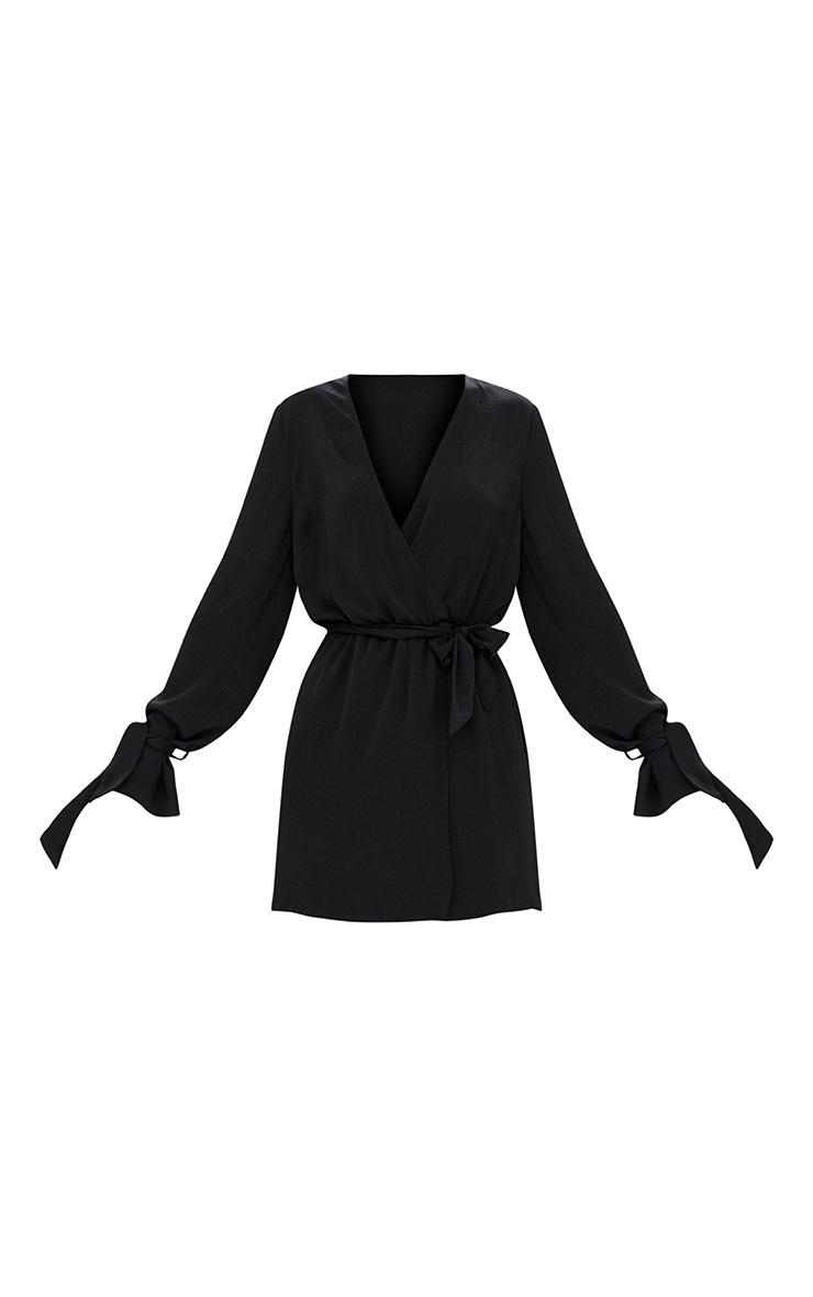Black Satin Wrap Cuff Detail Shift Dress 3