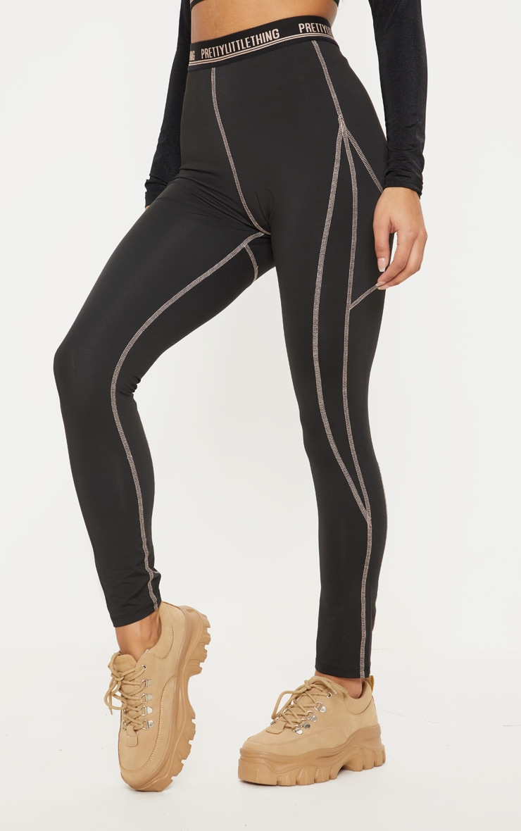 Black Contrast Stitch Gym Legging 2
