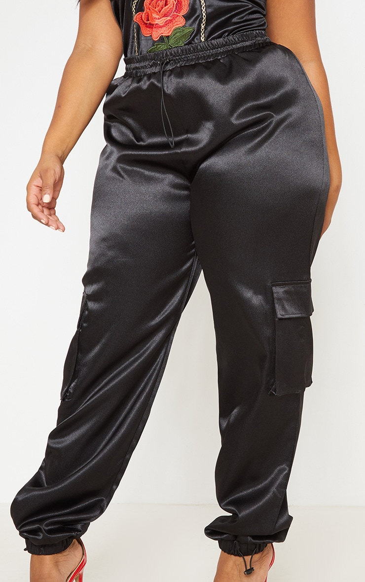 Black Satin Pocket Detail Jogger 6