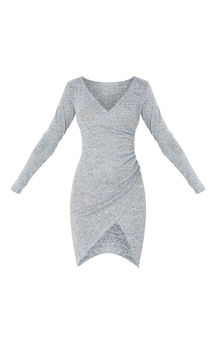 Grey Ruched Wrap Detail Bodycon Dress 5