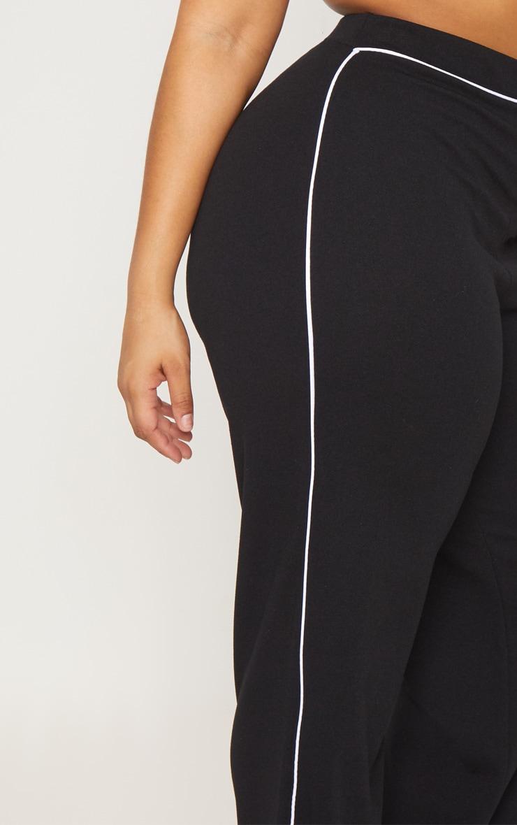 Plus Black Contrast Seam Detail Wide Leg Pants 5